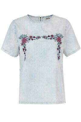 Hilfreich Bellfield Womens Mary Casual Denim T-shirt Ladies Designer Zip Up Floral Tee Top Durchblutung Aktivieren Und Sehnen Und Knochen StäRken