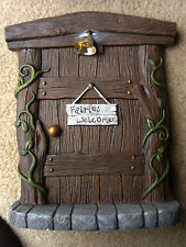 NEW RESIN HANGING OR STANDING FAIRY DOOR FOR FAIRY OR GNOME GARDEN W/REAL BELL