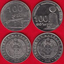 "2200 Years of Tashkent Goodness Monument/"" 2009 UNC 100 Som UZBEKISTAN Sum"
