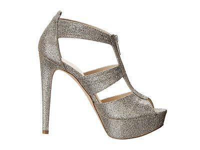 c8df3218f8e Michael Kors Berkley T Strap Silver Glitter Platform High Heels  150 NEW 11M