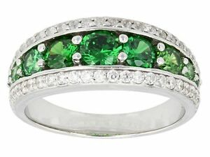 Size-8-Bella-Luce-3-34ctw-Tsavorite-amp-White-Diamond-Simulants-Sterling-Ring