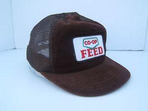 8a35b8b66b639 Vintage Co-op Feed Farmer Patch Hat Brown Victory Corduroy Snapback ...