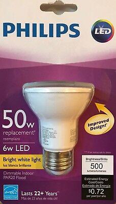 Case of 12 Philips 6 Watt Dimmable LED PAR20  25 Degrees 2700K 480 Lumens 120V