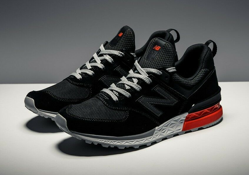 New Balance 574 Sport Black Red Sneakers Men's US Size 8