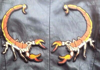 Pair Large Scorpion Patches Iron On Applique Biker Rock Jacket Embroidered
