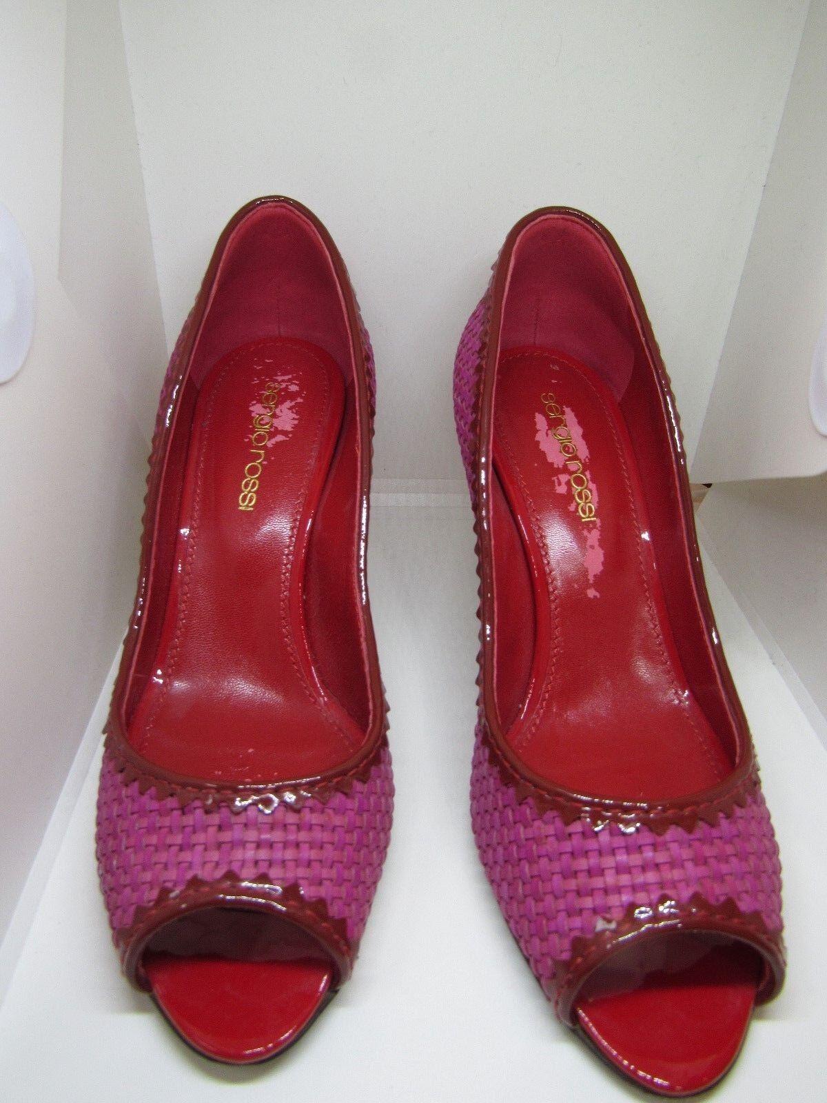 Sergio Rossi Pink ROT Woven Peep EU Toe Heel Pumps Größe EU Peep 36 3ed84a