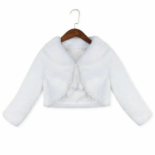 Kids Flower Girl Shrug Faux Fur Bolero Shawl Wrap Coat Jacket Cloak Cape Wedding