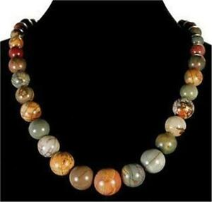 Natural-6-14mm-Multi-color-Picasso-Jasper-Round-Gemstone-Beads-Necklace-18-034