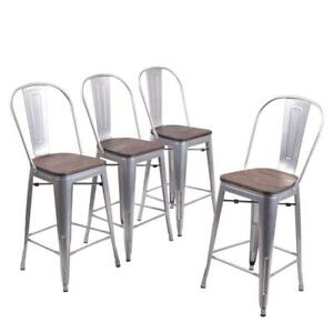 Superb Details About Set Of 4 Metal Bar Stools 26 Bar Chairs Counter Height High Back Wooden Silver Unemploymentrelief Wooden Chair Designs For Living Room Unemploymentrelieforg