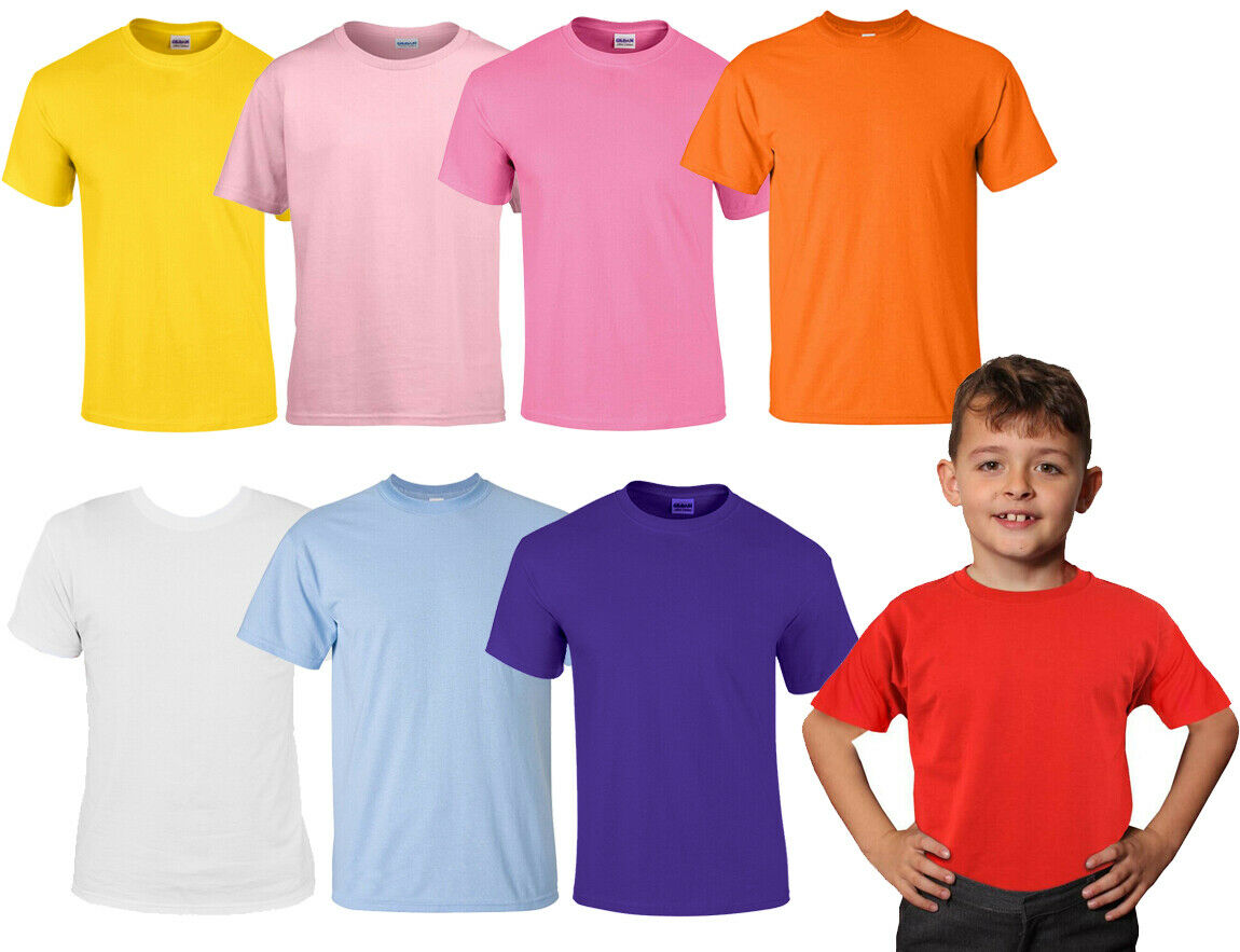 CHILDS CREW NECK T-SHIRT 100% COTTON KIDS CLOTHING CASUAL XXS-2XL 9 COLOURS