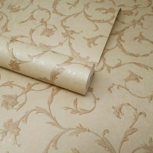 FD60169 Pré-Collé Naturel Beige Marron Motif Floral Feuille Trail Texturé Papier Peint