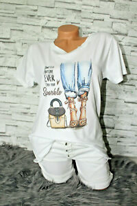 Italy-New-Collection-T-Shirt-weiss-High-Heels-Strass-Gr-36-38-40-42-blogger