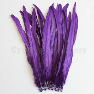 25-pcs-14-16-034-long-Purple-Dyed-Rooster-COQUE-tail-Feathers-for-crafting-NEW