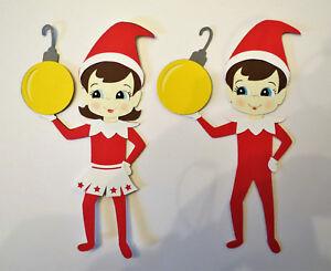 Details About Christmas Elf Shelf Boy Girl One Piece Cardstock Scrapbook Die Cut Embellishment