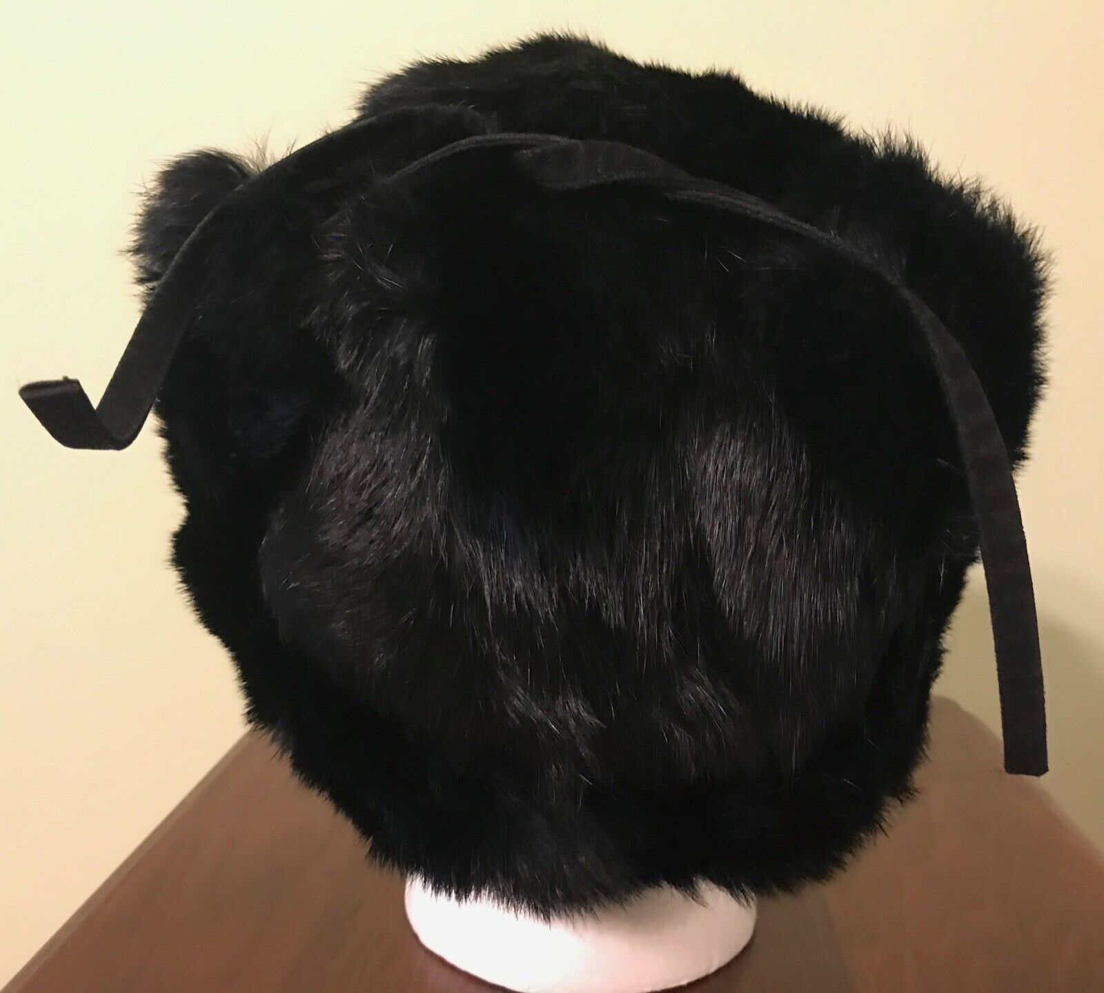 Vintage Black Mink Ladies' Hat with Flap Ear Muffs - image 4