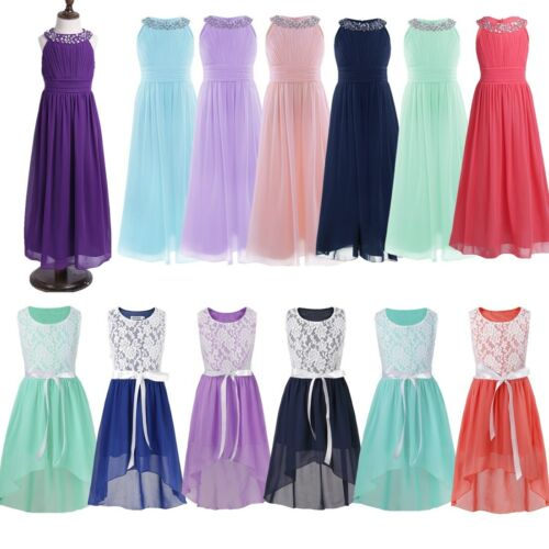 Beaded Lace Chiffon Flower Girl Dress Princess Wedding Dance Party Prom Gown