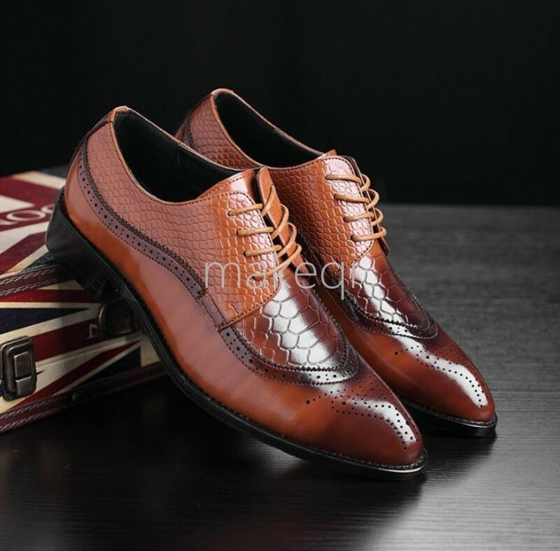 New Brogue Mens Lace Up Wing Tip Dress Formal shoes Low Heel Snakeskin Business