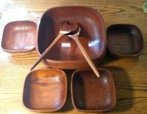 "Teak Salad Bowl 7 Piece Set Genuine Wood Vintage  Bowls, tossing Spoon /Tong 10"""
