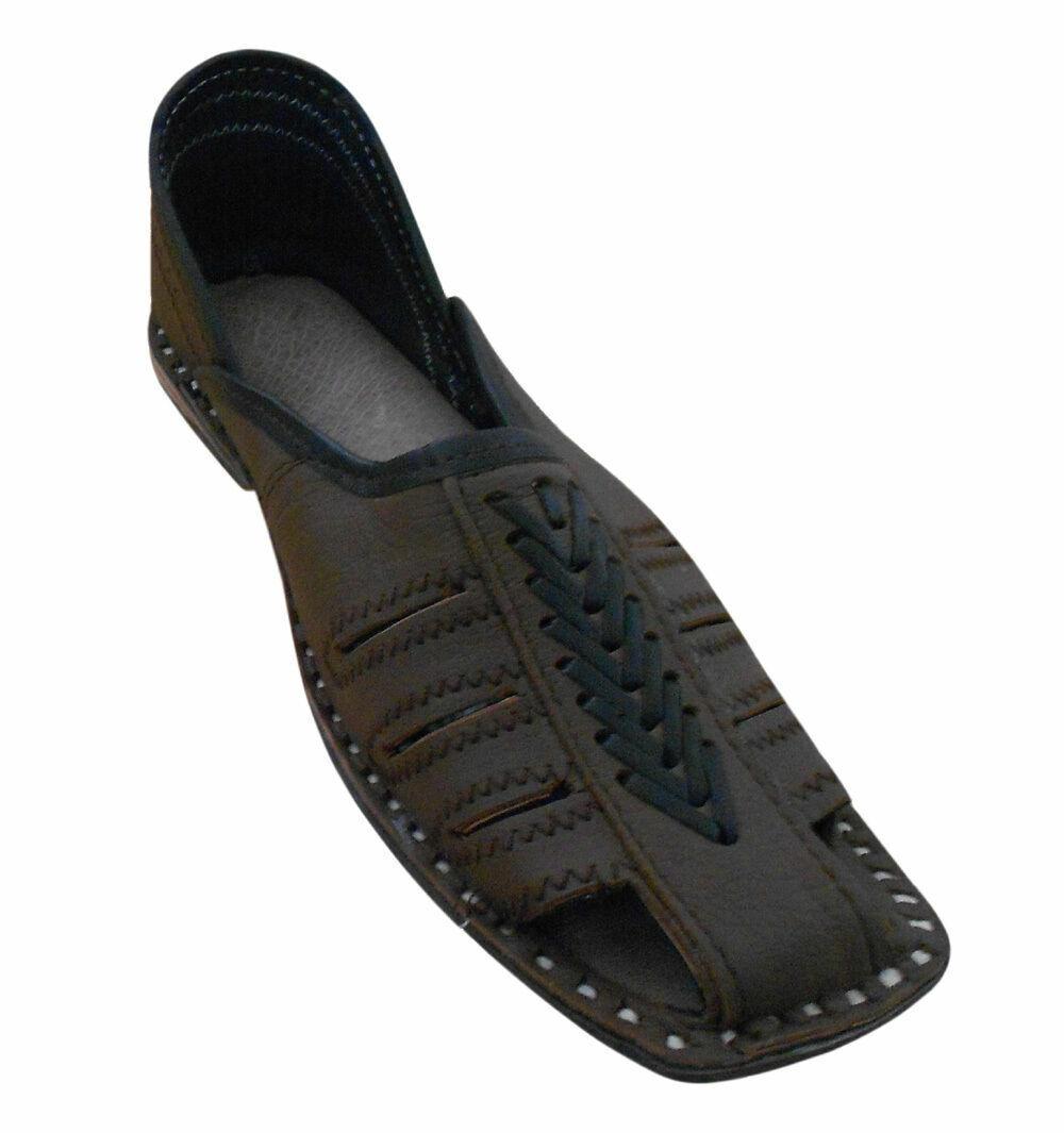 Men shoes Indian Handmade Leather FlipFlops Brown Flats Loafers Jutties US 11
