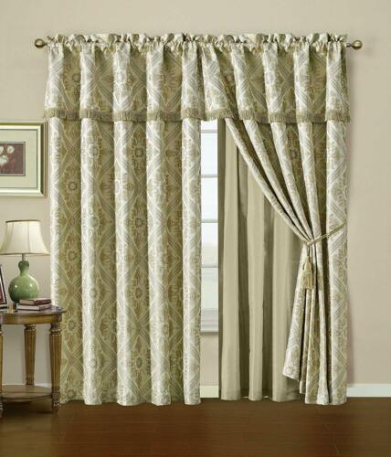 7pcs Gold//Ivory Jacquard Woven Floral Motif Comforter Set or Window Curtain Set