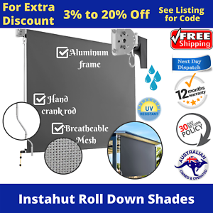 Outdoor Roll Down Blind Retractable Awning Patio Shades ...