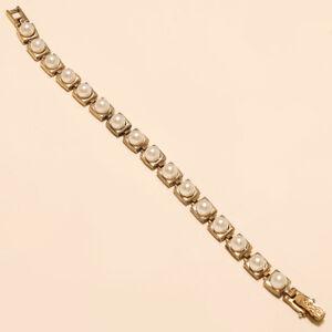 Fresh-Water-Pearl-Tennis-Bracelet-925-Sterling-Silver-Turkish-Two-Tone-Jewelry
