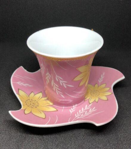 Espresso Café Turco ☕ Xícara E Pires Ouro Rosa Amarelo Flores Brancas