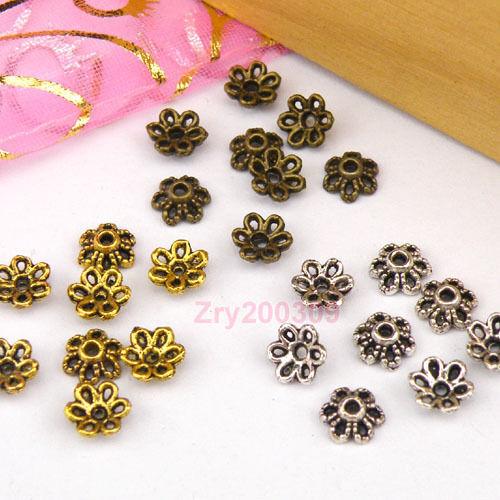 150Pcs Tibetan Silver,Antiqued Gold,Broze Flower Bead Caps Jewelry DIY M1176