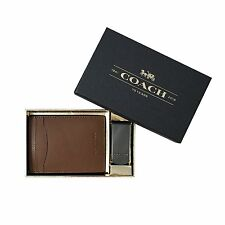 [88 63-1] Coach Mens Dark Saddle 3 in 1 Leather Card Case Money Clip Gift Box