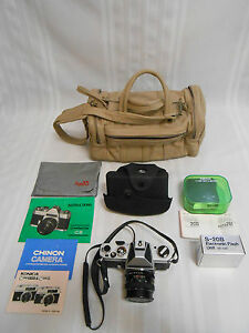 VINTAGE-CHINON-CS-35mm-SLR-CAMERA-SET-LENS-2-FLASHES-INSTRUCTIONS-LEATHER-BAG