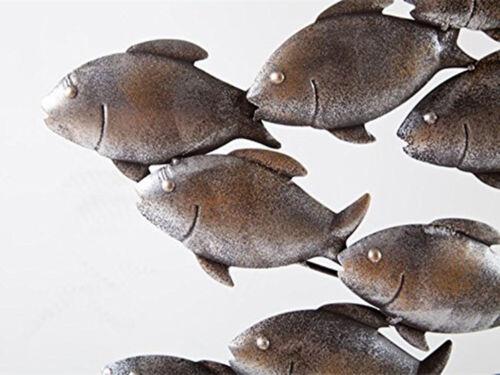 DIPAMKAR® Metal Wall Art School of Fish Sculpture //Statues Home Garden Ornaments