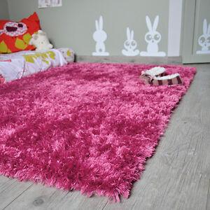 Détails sur Tapis enfant shaggy rose foncé Pop à Poils longs - Salon séjour  chambre fille
