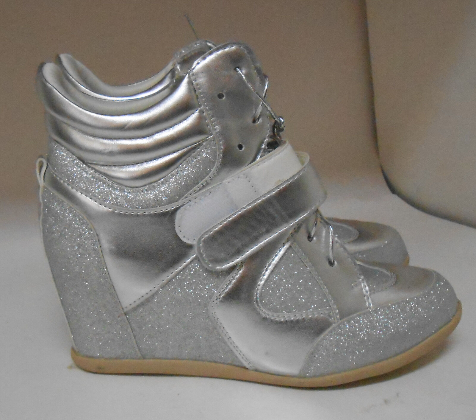 "new Silver 3""Wedge Heel Round Toe sexy Ankle Boots Front Strap Size 6.5"