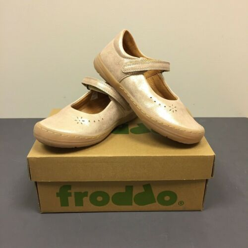 FRODDO Girls Kids Patent Pink Gold Leather Hook And Loop Shoes G3140070-7