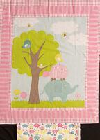 Elephant 100% Cotton Baby Panel Includes Elephant/turtle Backing Fabric