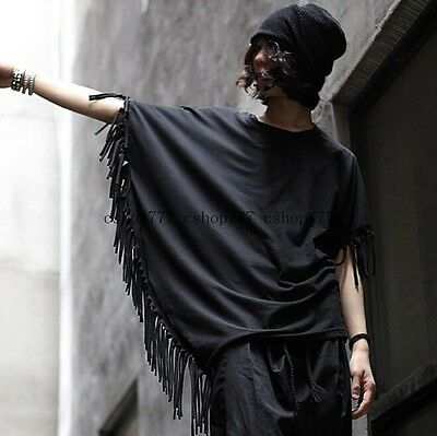 Loose Mens Korean Mod Avant-garde Tassel Short batwing-sleeved T-shirts New S7