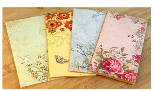 Set 4 Floral Kraft Paper Notebooks Unlined Lovely Gift!