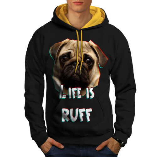 Wellcoda Pug Dog Face Look Mens Contrast Hoodie Life Casual Jumper