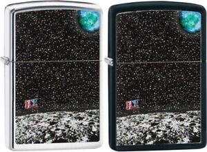 ZIPPO-50th-Anniversary-Moon-Landing-Design-Black-And-Chrome-2-Lighter-Set-29862