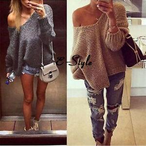 Damen-Sexy-Schulterfrei-Langarm-Bluse-Oberteile-Freizeit-Sweatshirt-Top-Pullover