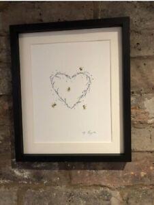 Bumble Bees, Lavender Heart, Original Watercolour Painting, Original Art, Gift