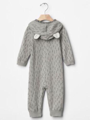 GAP Baby Boy Size 0-3 Months Gray Wolf Ear One-Piece Sweater Romper w//Hood