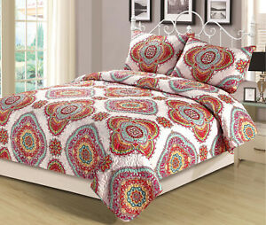 4a0fb3957b Full/Queen or King Quilt Boho Medallion Pink Orange Yellow Bedding ...