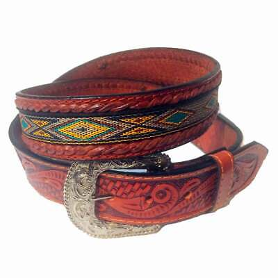Ref: 101 Ceinture Western Country Motif Aztèque Marron Homme, Femme Acquista One Give One