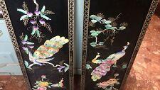 COPPIA DI BELLE Oriental LACCATI muro appendere dipinto a mano PAVONE & Fiore pannelli