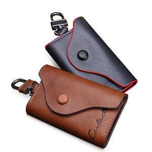 100-Genuine-Leather-Men-Women-Key-Case-Wallet-Card-Holder-Bag-Car-Key-Chains