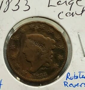 1833 Coronet Liberty Head US Large Cent 1c Circulated 20% rotated Error Variety