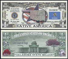 OKLAHOMA STATE MILLION DOLLAR w MAP, SEAL, FLAG, CAPITOL - Lot of 2 BILLS