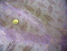 LUREX LEAF NET MESH-LILAC/GOLD -DRESS FABRIC-FREE P&P