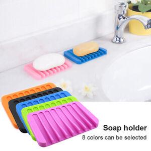 HN Flexible Bathroom Soap Dish Storage Holder Rack Soapbox Plate Drain Accessor